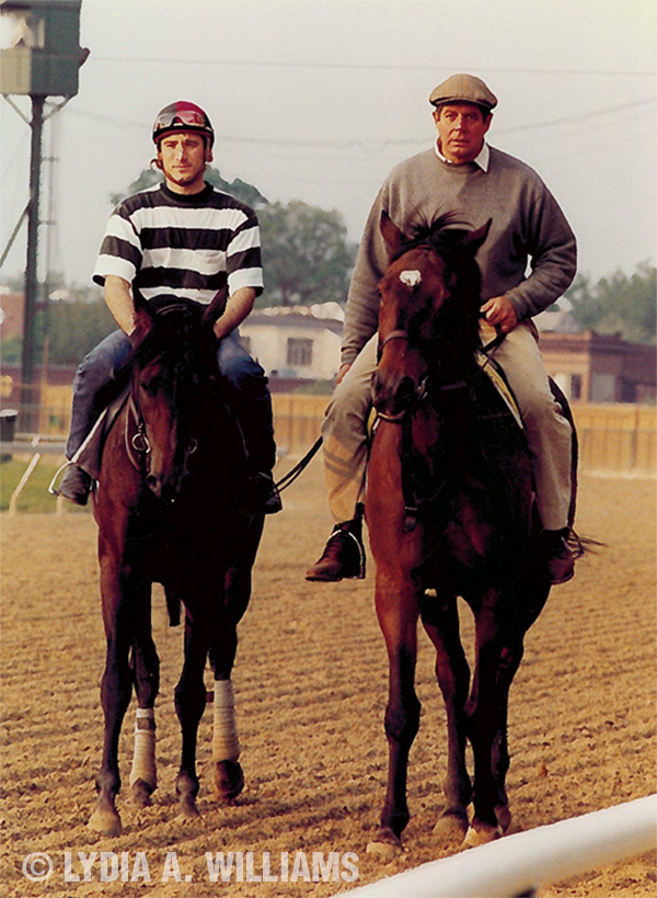 "Concern (left) at Pimlico with trainer Richard ""Dickie"" Small escorting."