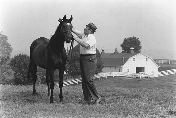 After his retirement from the track in 1961, Find lived the remainder of his life at his birthplace, Sagamore Farm, in Glyndon. He is shown in 1978 with longtime groom Boo Boblits, who first worked with Find as a yearling 27 years earlier
