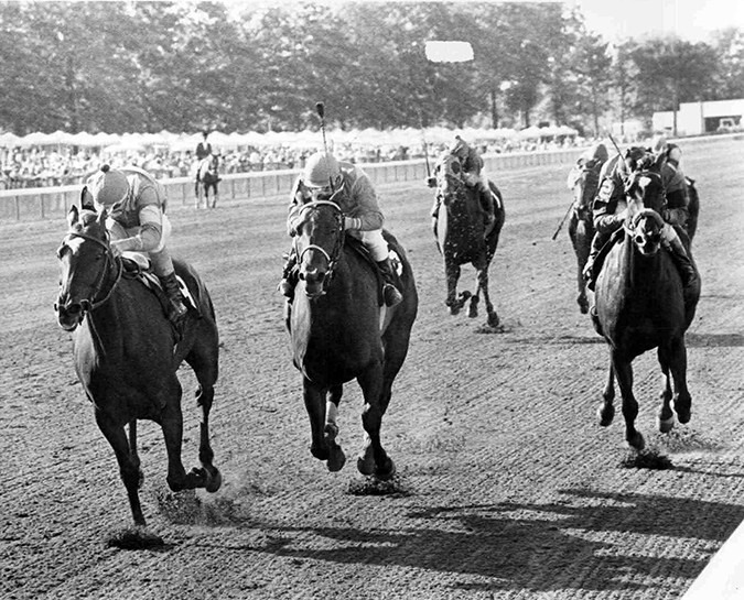 The 1982 campaign saw Jameela race from coast-to-coast. A trip to Monmouth resulted in a victory in the Grade 2 Molly Pitcher Handicap. Jameela (left) defeated Pukka Princess (center) and Prismatical (right). In nine starts that year, she ran at seven different tracks. Jim Raftery, Turfotos