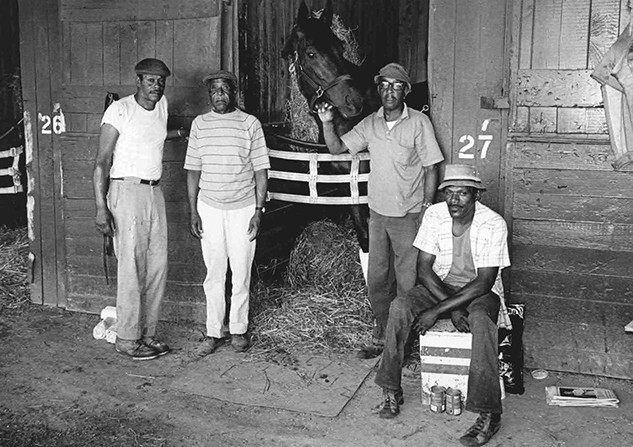 Trainer Katy's Voss' assistant Nat Johnson (second from right) was an integral part of the Twixt team. Joining him with the mare in 1974 were Mickey Owens, Ralph Williams and Ralph Gardner. (Skip Ball photo)