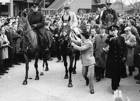 Winner's circle celebration at Aintree after the 1965 Grand National
