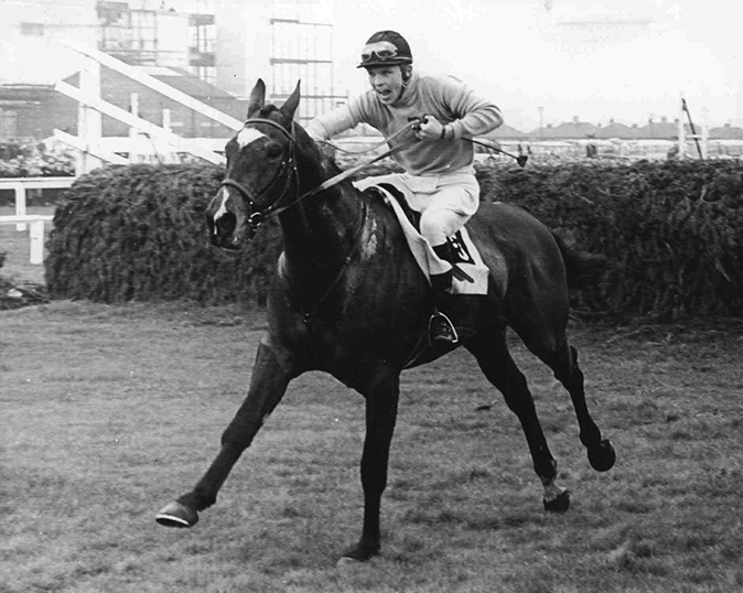 Tommy Smith urging Jay Trump home after the final fence of the Aintree Grand National