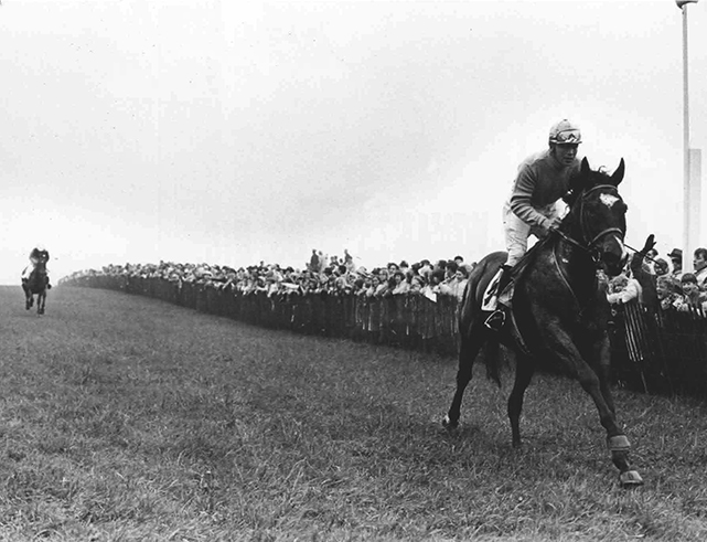 The third victory in the Maryland Hunt Cup was the easiest of all as Jay Trump wins by eight lengths in 1966