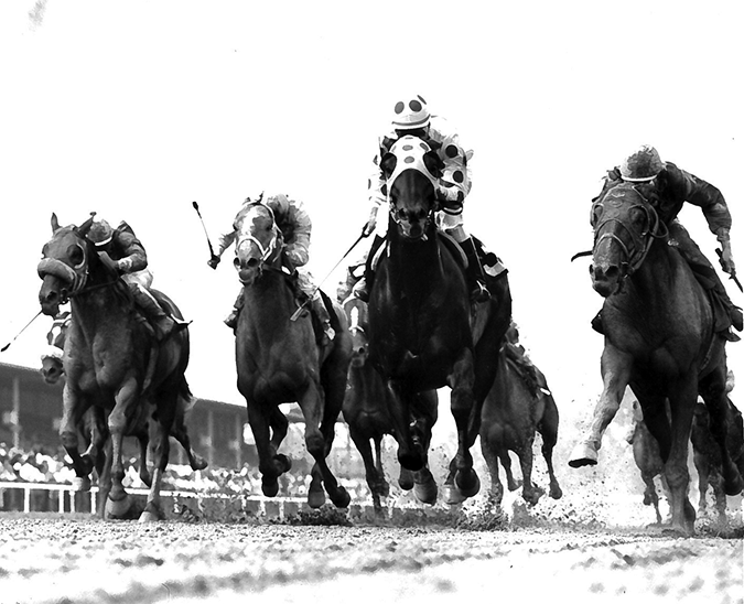 The richest race on the Pimlico summer calendar in 1988 was the Grade 3 Baltimore Budweiser Breeders' Cup Handicap, which Little Bold John, carrying top weight of 124 pounds, won by a nose over Dogwood Stable's Ron Stevens (right).